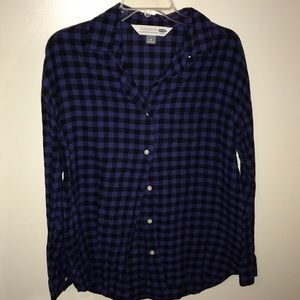 Purple and Black Plaid Boyfriend Shirt